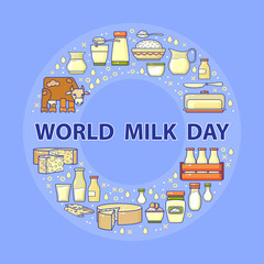 World milk day card. Vector set of dairy icons.