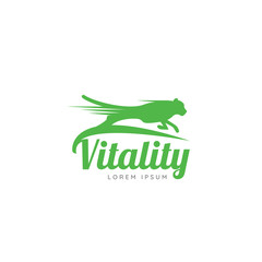 Running Cheetah. Symbol of vitality. Creative design. Vector