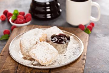 Beignets with raspberry jam