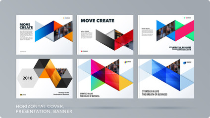 Triangular design presentation template with colourful rectangles shadows. Abstract vector set of modern horizontal banners