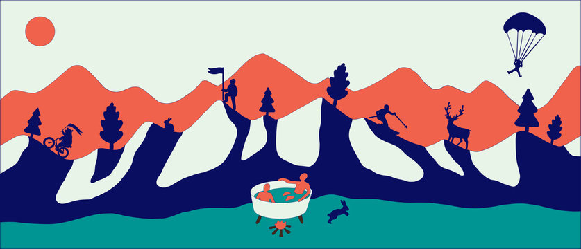 Flat design modern vector illustration, red flat mountains with snow