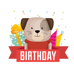 happy birthday card with cute dog vector illustration design