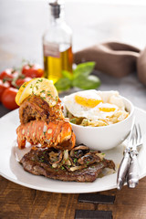 Southern surf and turf with potatoes and eggs