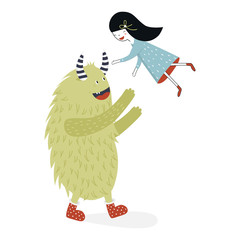 Cute nursery poster with girl and monster. Vector illustration in scandinavian style
