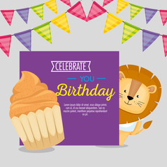 happy birthday card with cupcake and cute lion vector illustration design