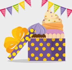 happy birthday card with cupcake and giftbox vector illustration design