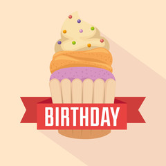 happy birthday card with cupcake and ribbon vector illustration design
