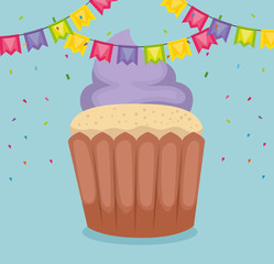 happy birthday card with cupcake and garlands vector illustration design