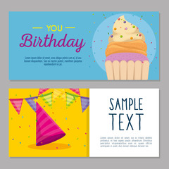 happy birthday card with cupcake and hat party vector illustration design