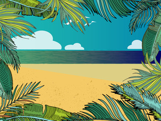 Vector Summer Tropical Background With Beach, Sea, Palm Leaves. Cartoon landscape.