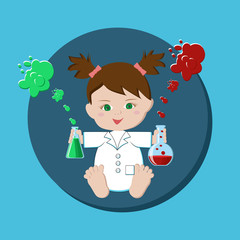 Baby girl scientist holding flasks with chemical solutions.