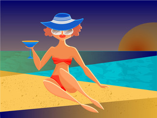 Beautiful glamour woman with  cocktail and sun glasses on a sunset beach. Summertime theme. Vector flat illustration.