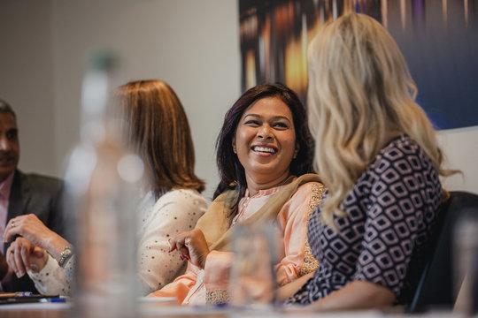 Businesswomen Talking Before a Meeting