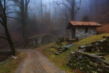 Small chapel in the woods near terz'alpe in val ravella, gajum, canzo, valassina, province of como, lombardy, italy, Europe