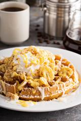 Banana pudding waffle with whipped cream