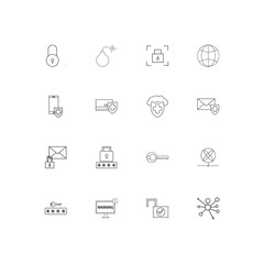 Internet Security linear thin icons set. Outlined simple vector icons