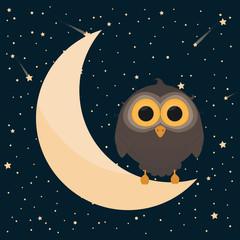 Cute Owl. Good Night Concept