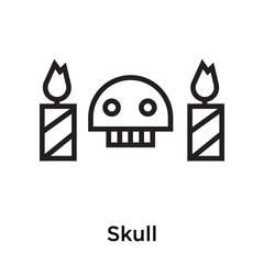 Skull icon vector sign and symbol isolated on white background