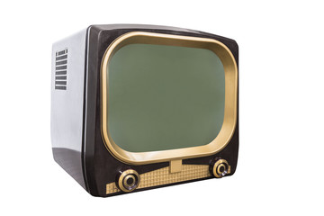Retro 1950s television isolated on white with clipping path.