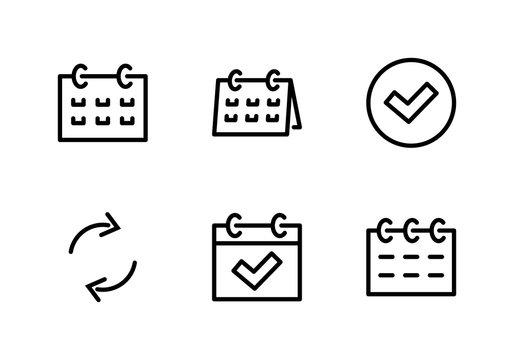 Set calendar Line icon stock vector illustration. Editable Stroke. 100x100 Pixel Perfect