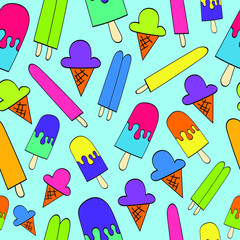 Bright Colored Ice Cream Cones and Popsicles Seamless Pattern