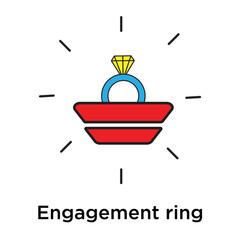 Engagement ring icon vector sign and symbol isolated on white background