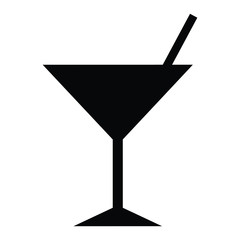 A black and white silhouette of a cocktail glass with a straw