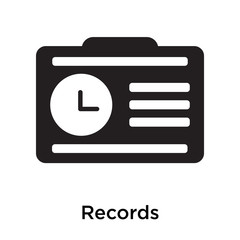 Records icon vector sign and symbol isolated on white background
