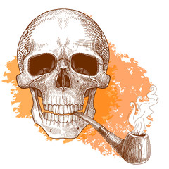 The human skull smokes a pipe. Hand drawn sketch vector illustration.