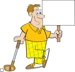 Cartoon illustration of a golfer holding a sign while leaning on a golf club.
