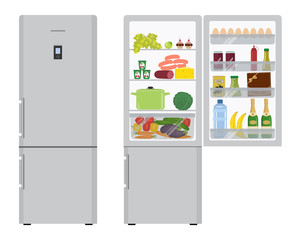 Gray fridge with open doors, a full of food. There are champagne bottles, a box of chocolates, a water bottle, a sausage, bananas, eggs, ketchup, vegetables and fruits in the picture. Vector