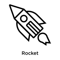 Rocket icon vector sign and symbol isolated on white background