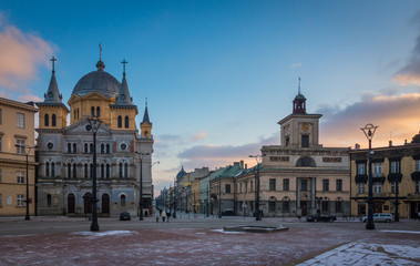 Church and town hall on the Freedom square in Lodz city, Lodzkie, Poland