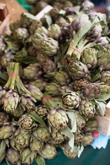 Spring artichokes at the farmers market in Paris