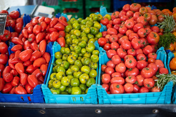Tomatoes for sale at the farmer's market in Paris