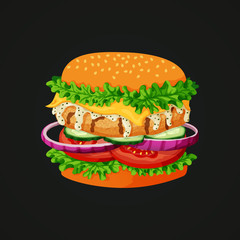 Chicken burger icon. Grilled chicken patty, lettuce, cheese, white mayonnaise sauce, cucumber, onion and tomato an a dark background.
