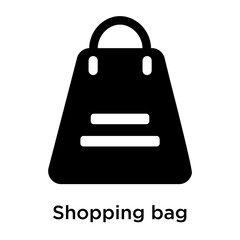 Shopping bag icon vector sign and symbol isolated on white background