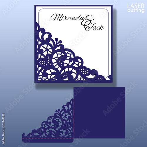 die laser cut wedding card vector template invitation envelope with