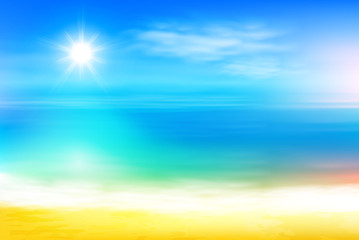 Beach and tropical sea with bright sun. EPS10 vector.