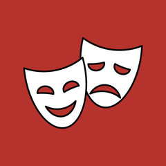 Theater masks, vector linear icon on red background.