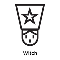 Witch icon vector sign and symbol isolated on white background
