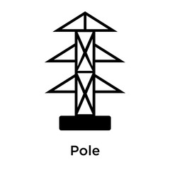 Pole icon vector sign and symbol isolated on white background