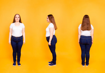 Collage of three full length portraits from all side of confident, stylish, plump woman in casual outfit, wearing t-shirt, jeans, sneakers, standing over yellow background