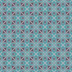 Blue Fabric print. Geometric pattern in repeat. Seamless background, mosaic ornament, ethnic style.