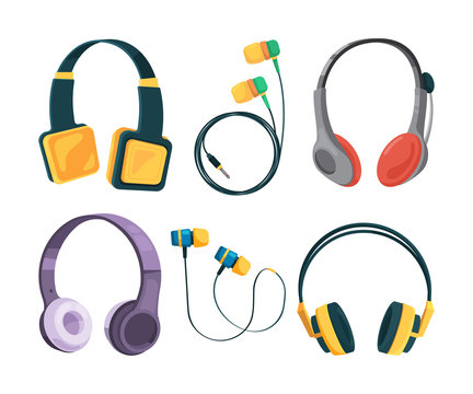 Vector collection set of different headphones. Illustrations in cartoon style