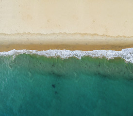 Top view of a beautiful tropical beach