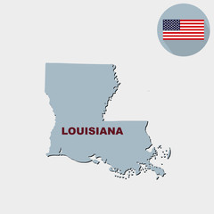 Map of the U.S. state of Louisiana on a grey background. America
