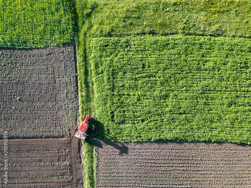 Wall mural Agriculture. Aerial view of farmland in Spring