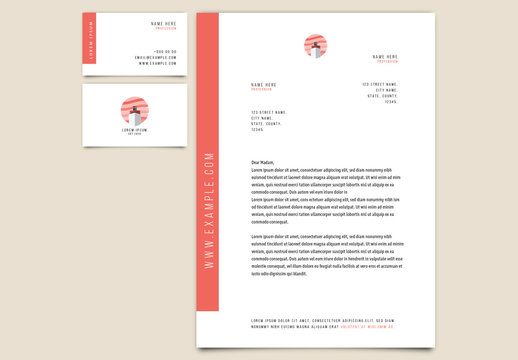 Business Card and Letterhead Set with Ship Illustration