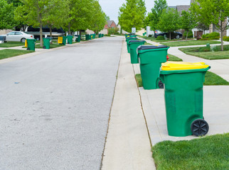 Row of garbage bins lined up along the roadside